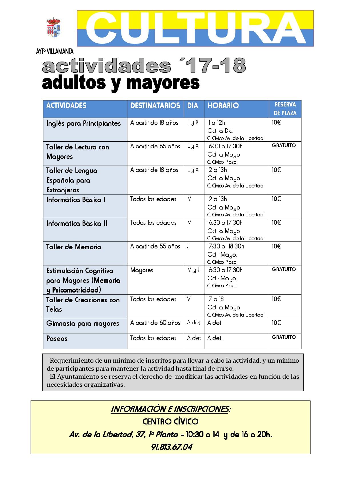 Actividades Culturales 2017/18 adultos y mayores