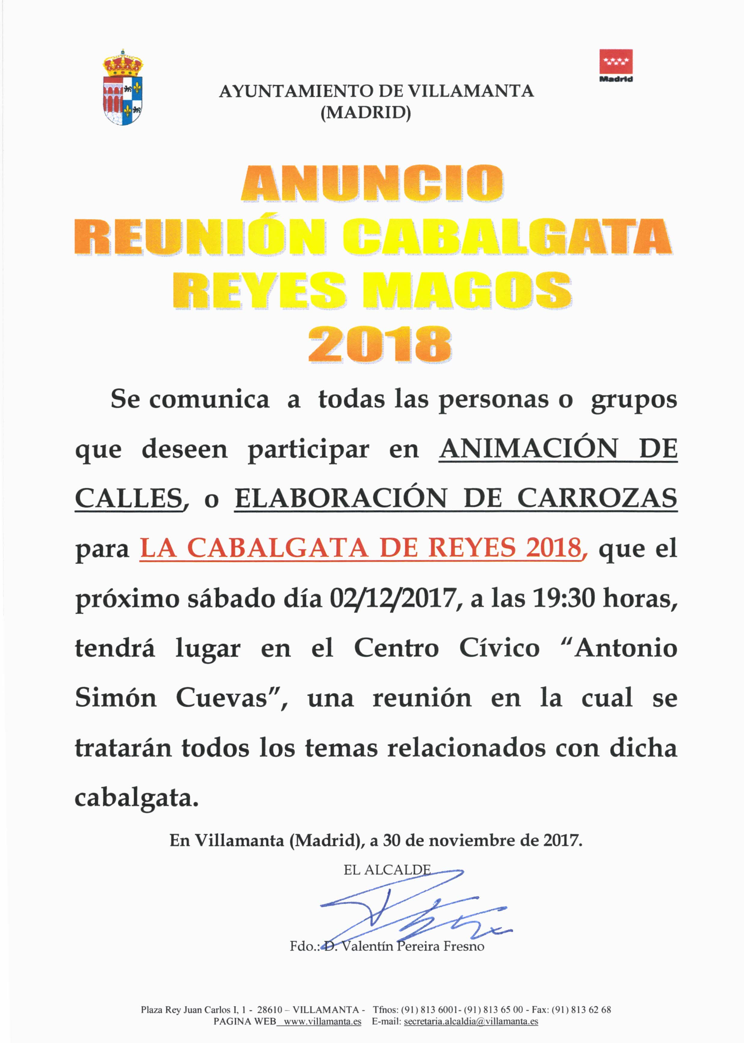 Anuncio Cabalgata de Reyes Magos 2018