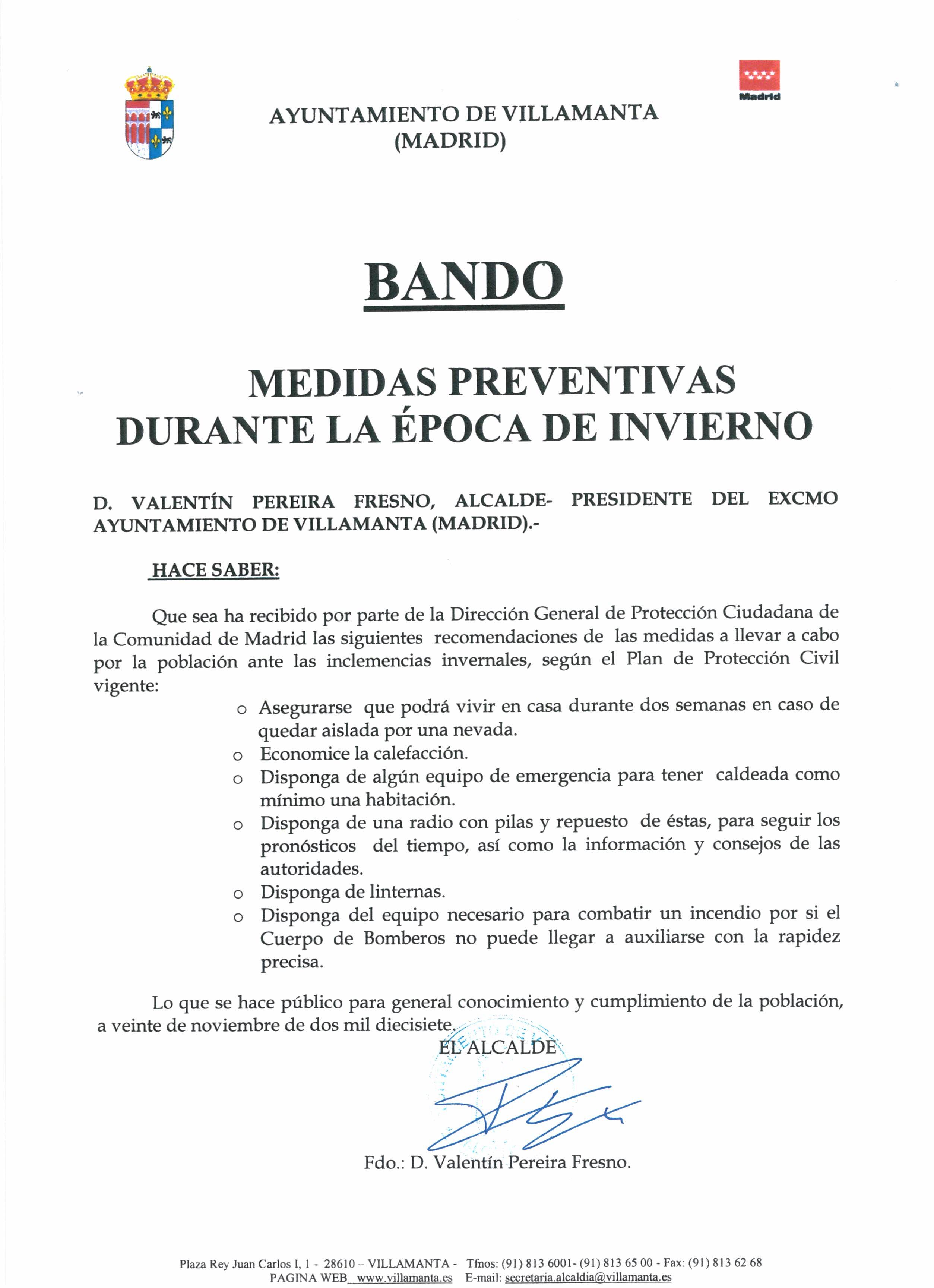 Bando: Medidas preventivas durante la época de invierno