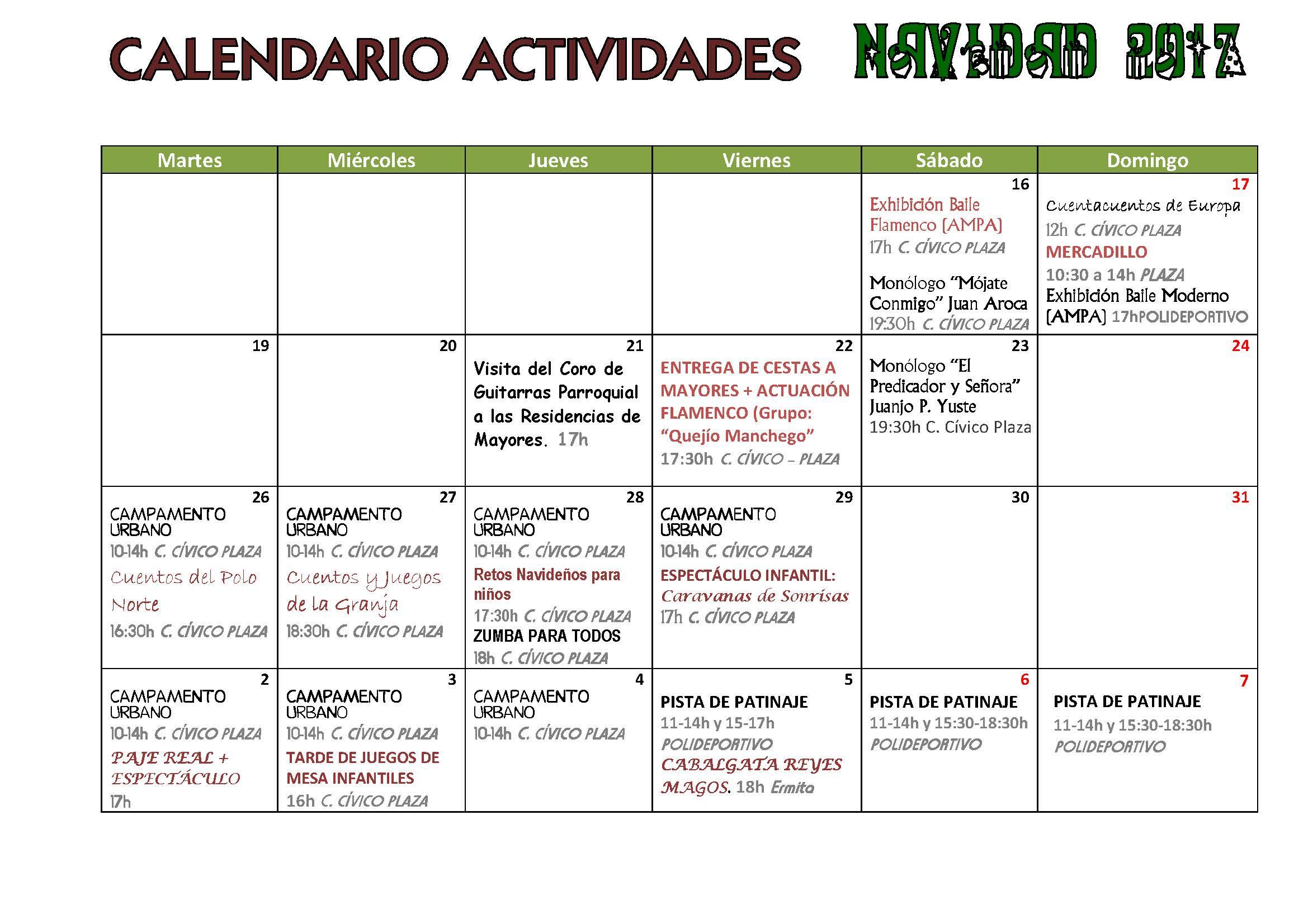 Calendario Actividades de Navidad 2017/18