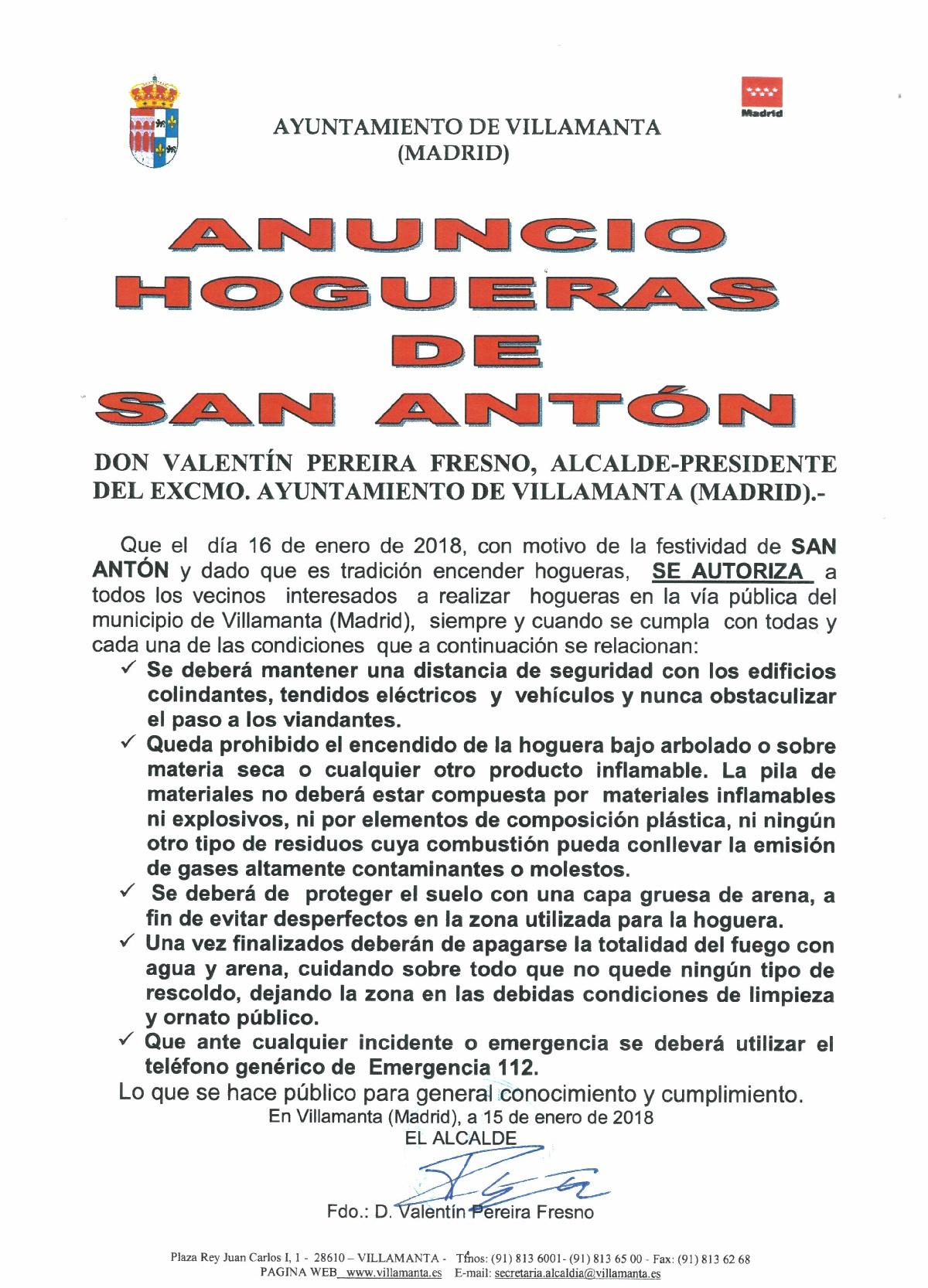 Hogueras de San Antón 16/01/2018
