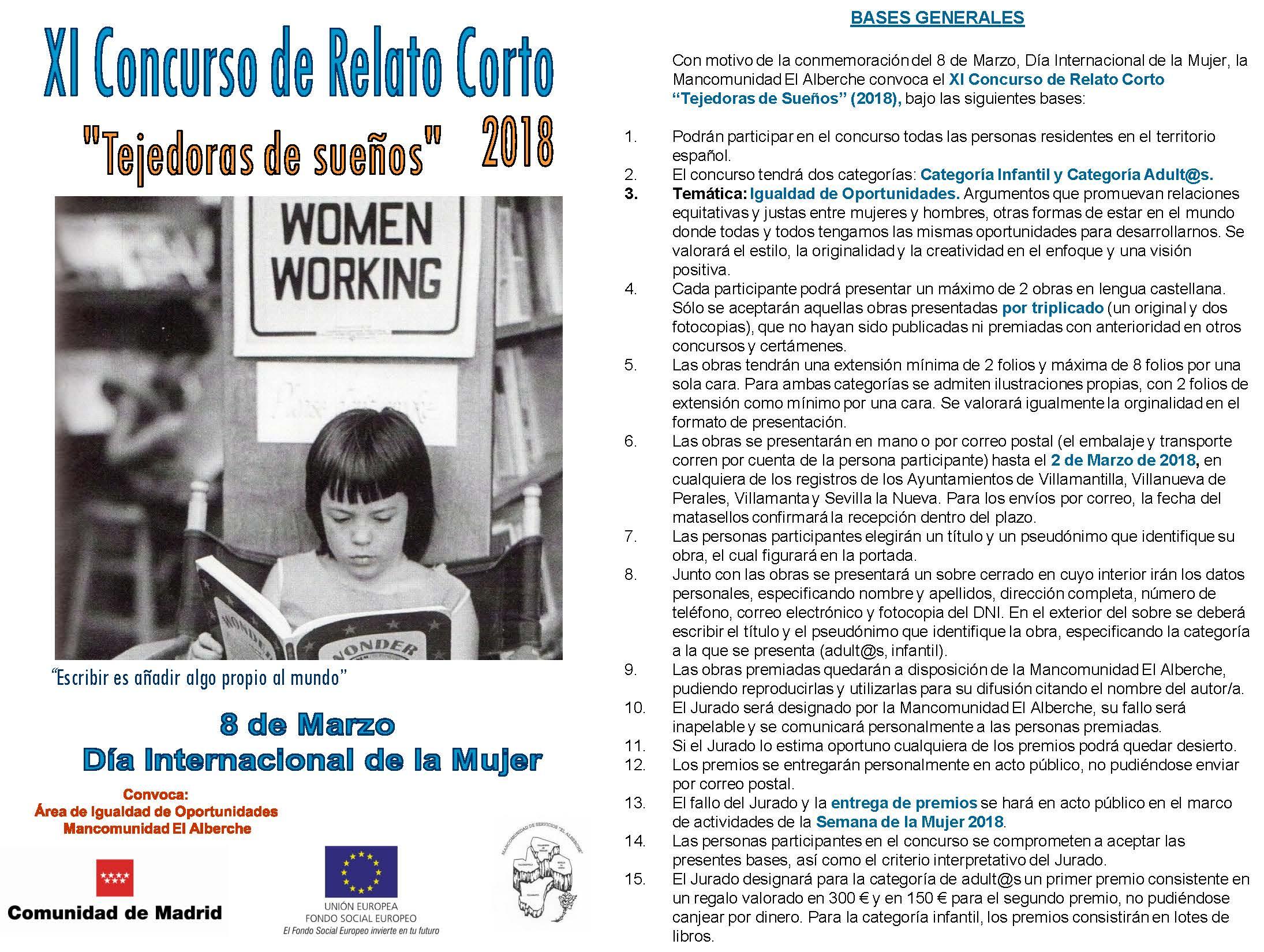 """XI Concurso de Relato Corto """"Tejedoras de Sueños"""" 8/03/18"""