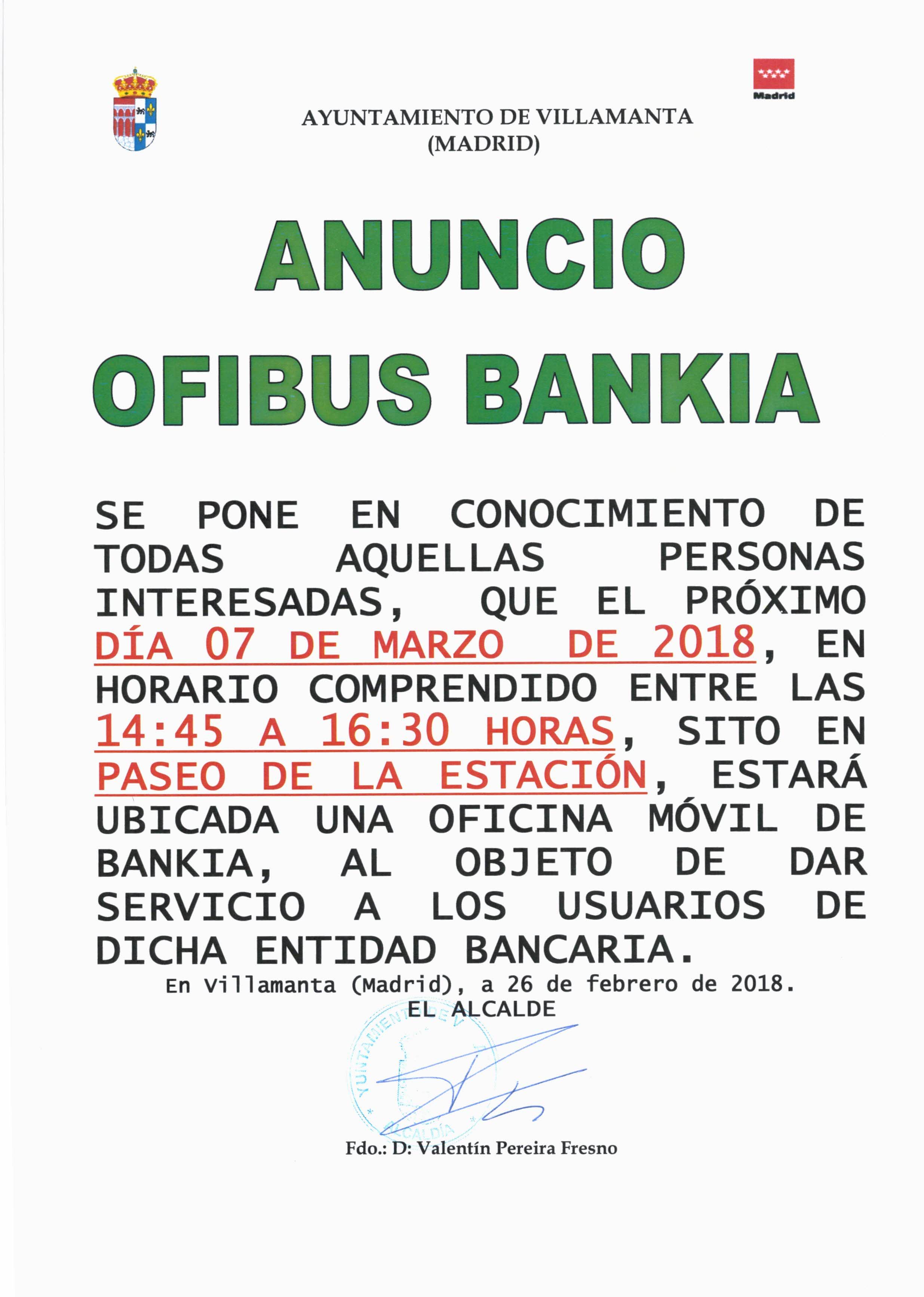 Ofibus Bankia 7 de marzo de 2018