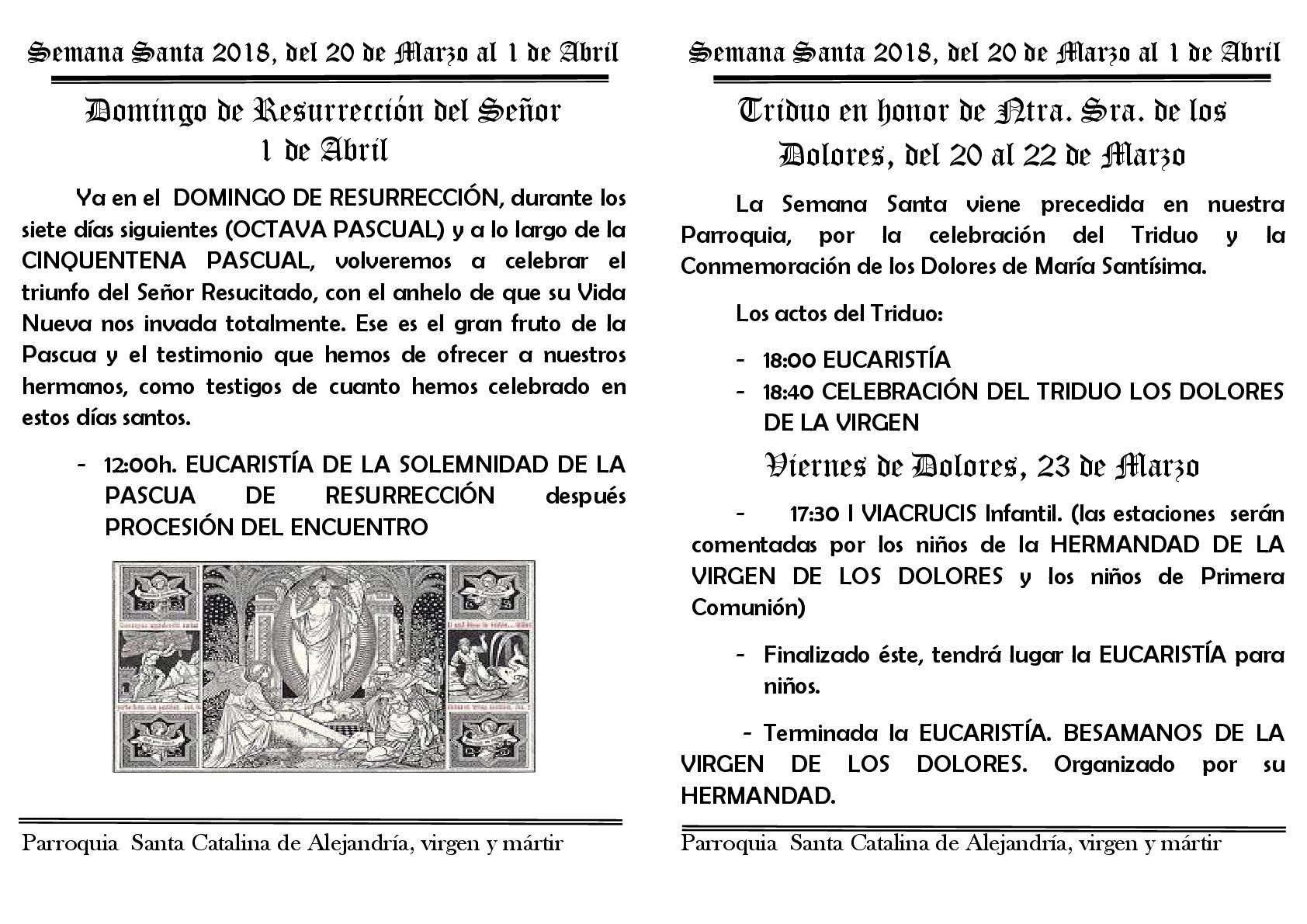 Semana Santa 2018 programa del domingo de resurreccion