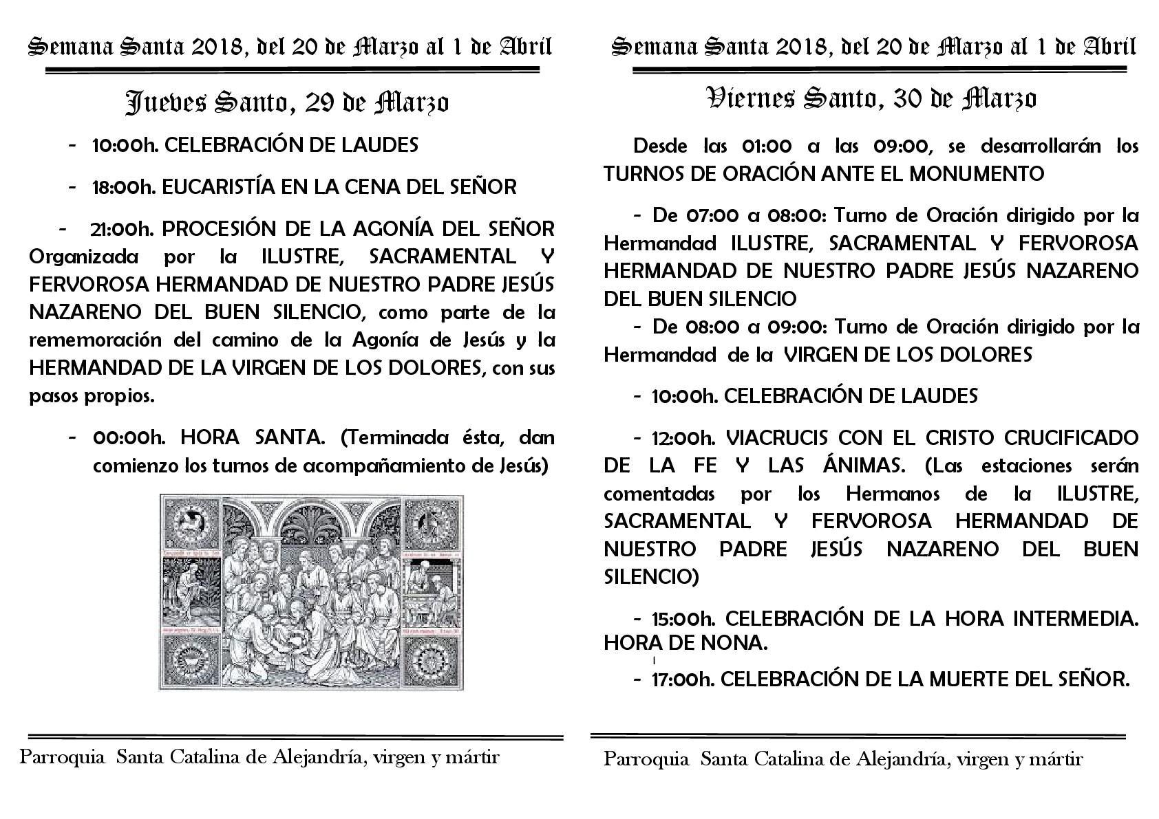 Semana Santa 2018 programa del jueves y viernes santo