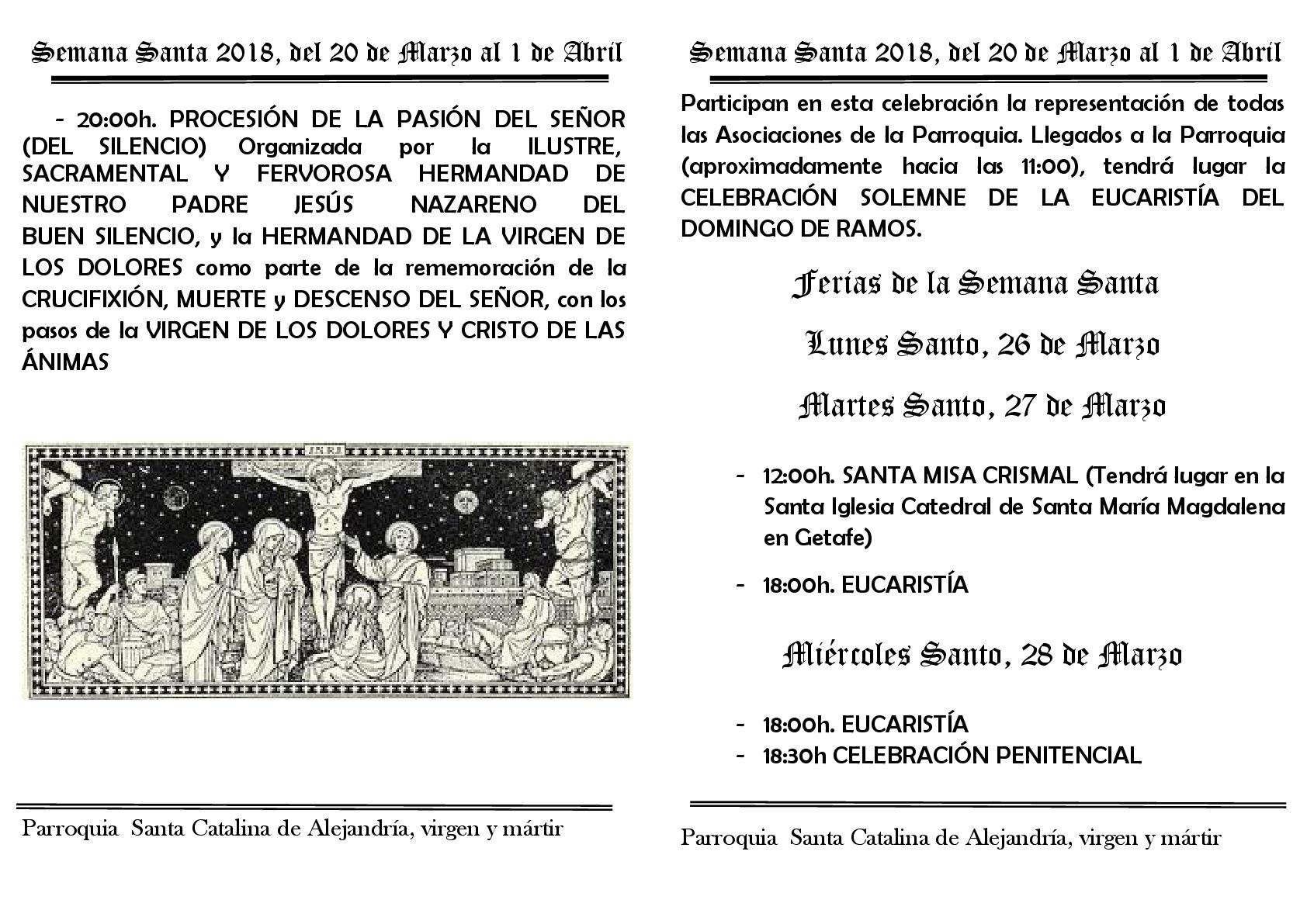 Semana Santa 2018 del 20 al 1 de abril