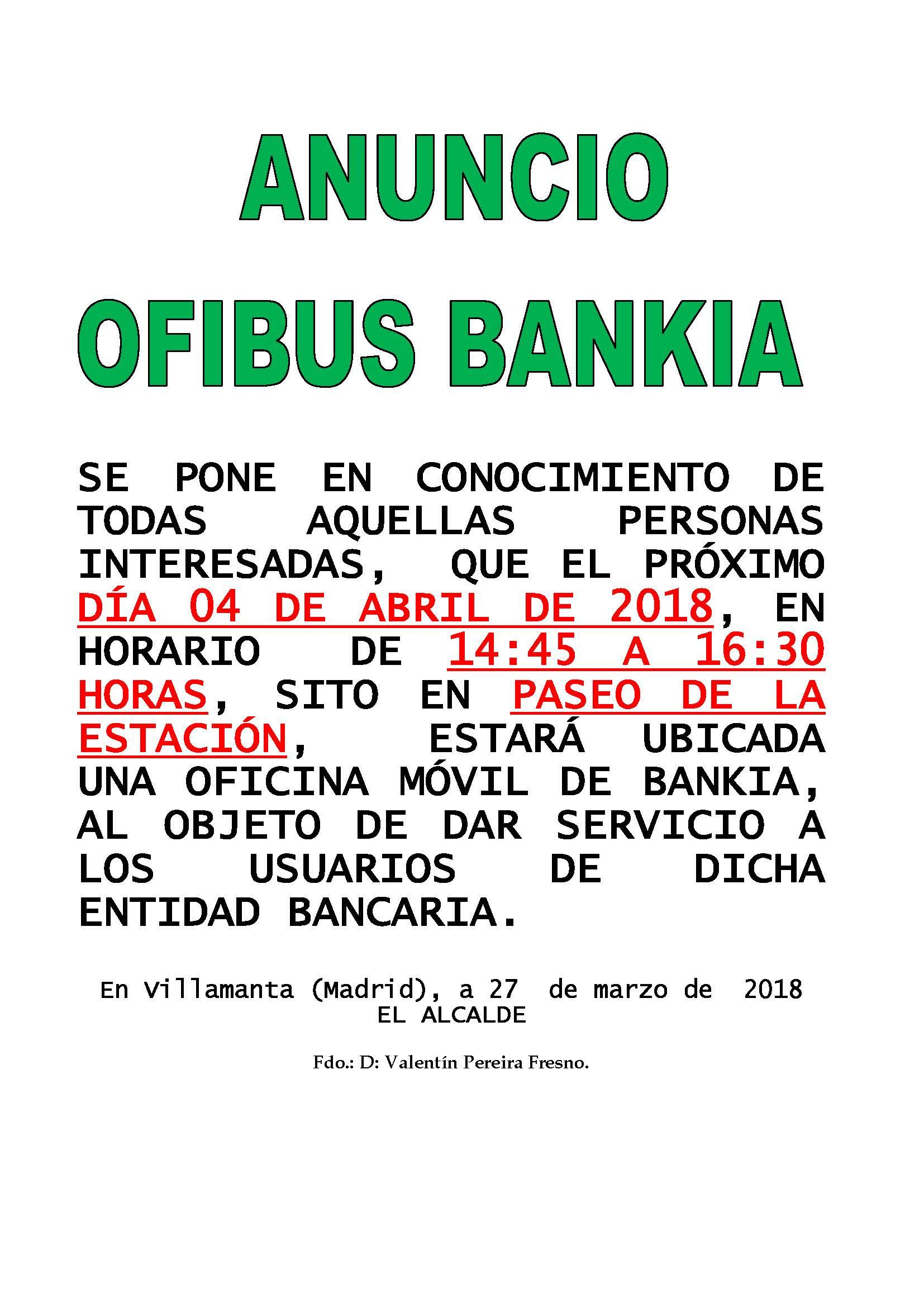 Ofibus Bankia 4 de abril de 2018