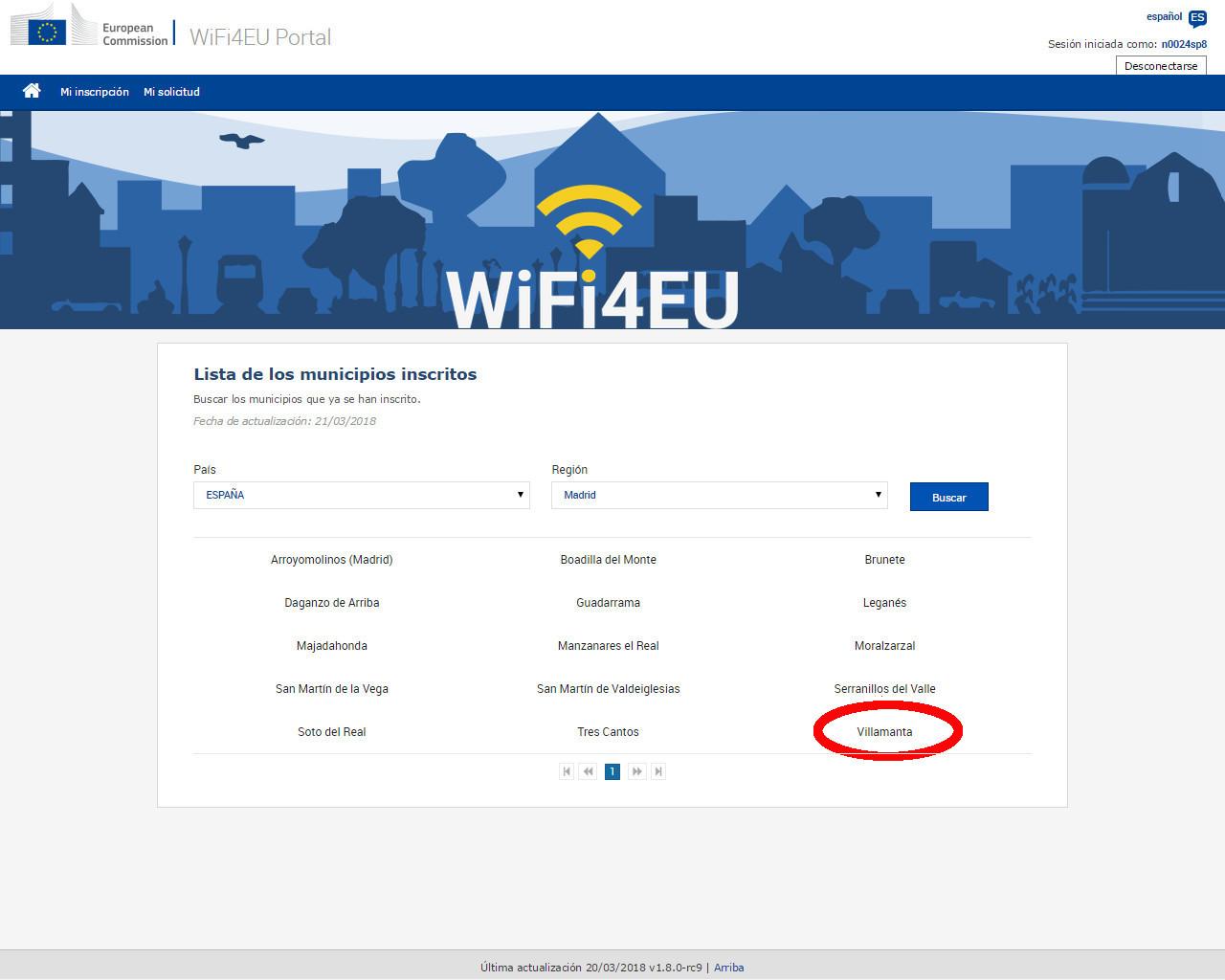 Wifi para Europa, listado de municipios inscritos