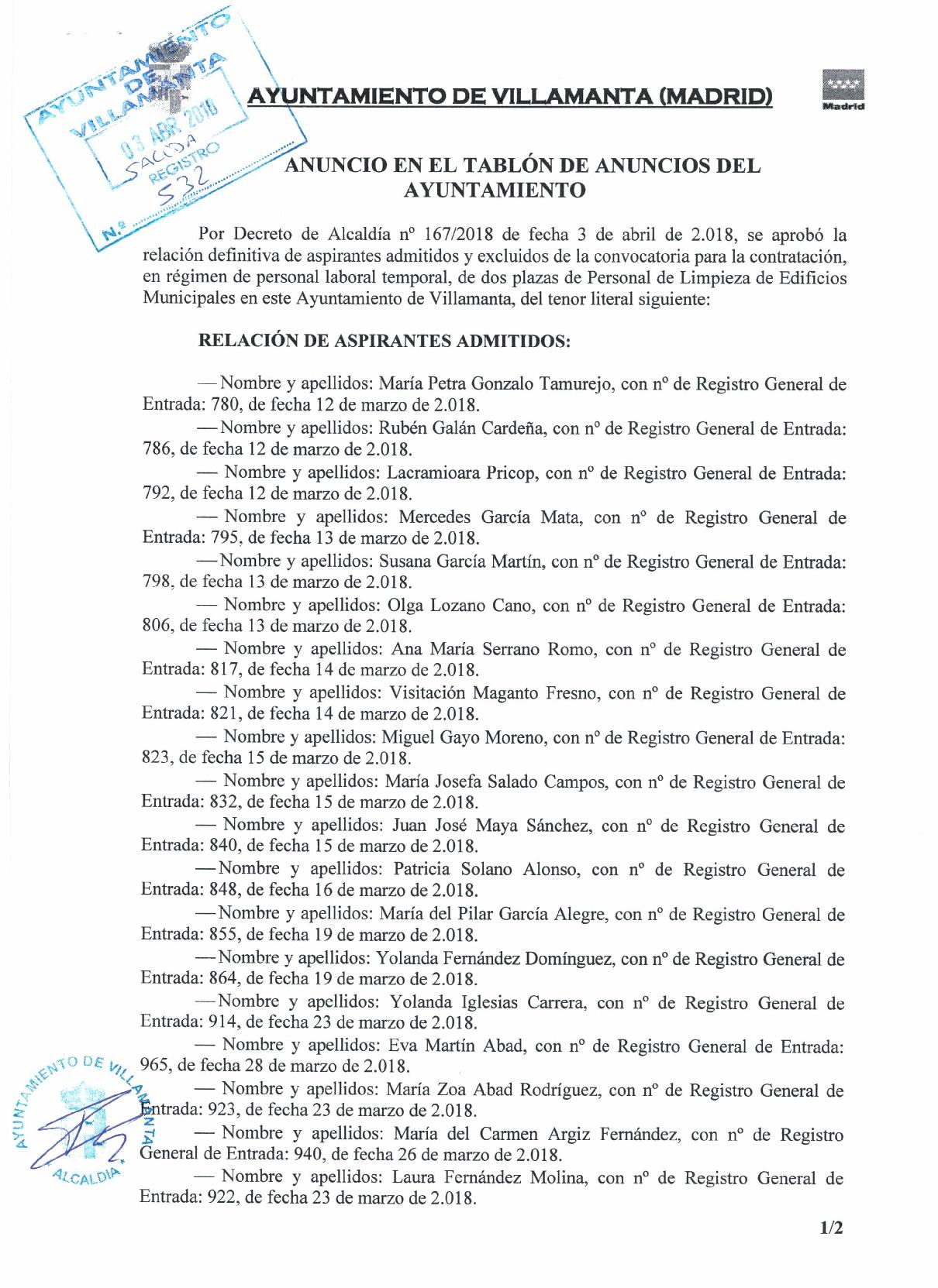 Listado definitivo de admitidos y excluidos 3 de abril de 2018