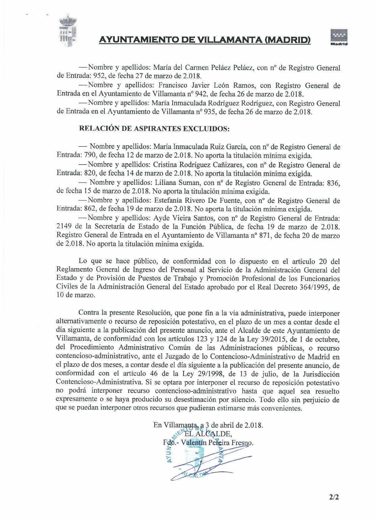 Listado definitivo de admitidos y excluidos 3 de abril de 2018 página 2