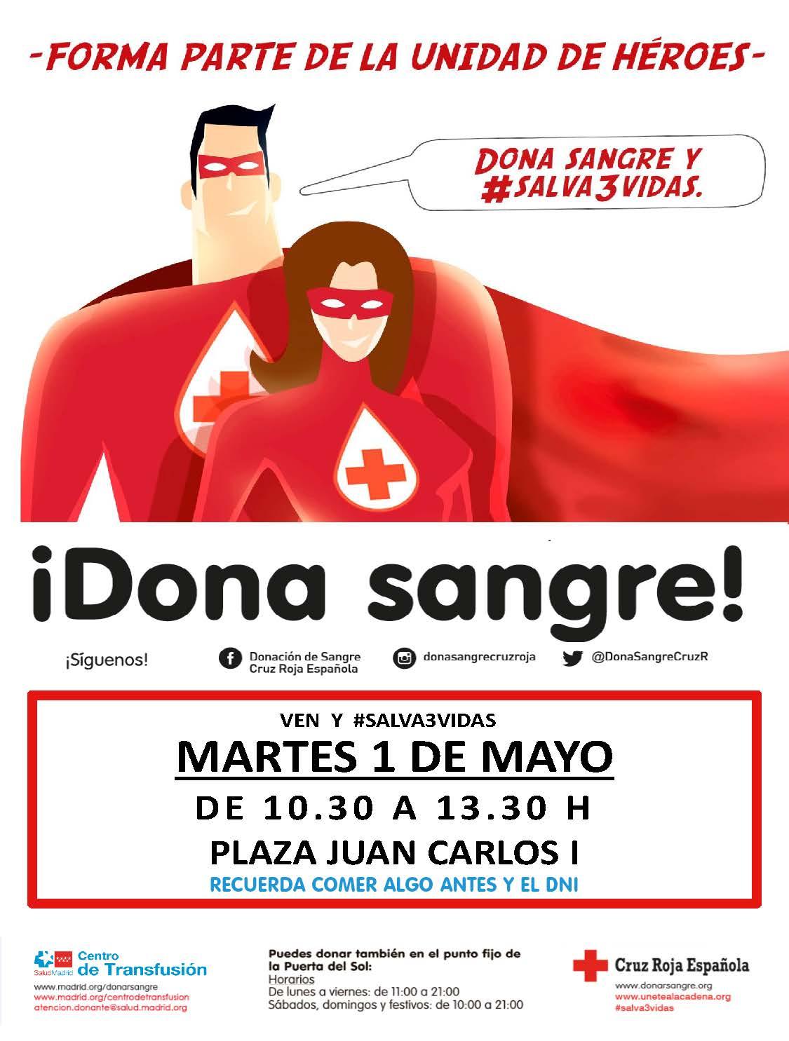 Donación de sangre martes 1 de mayo