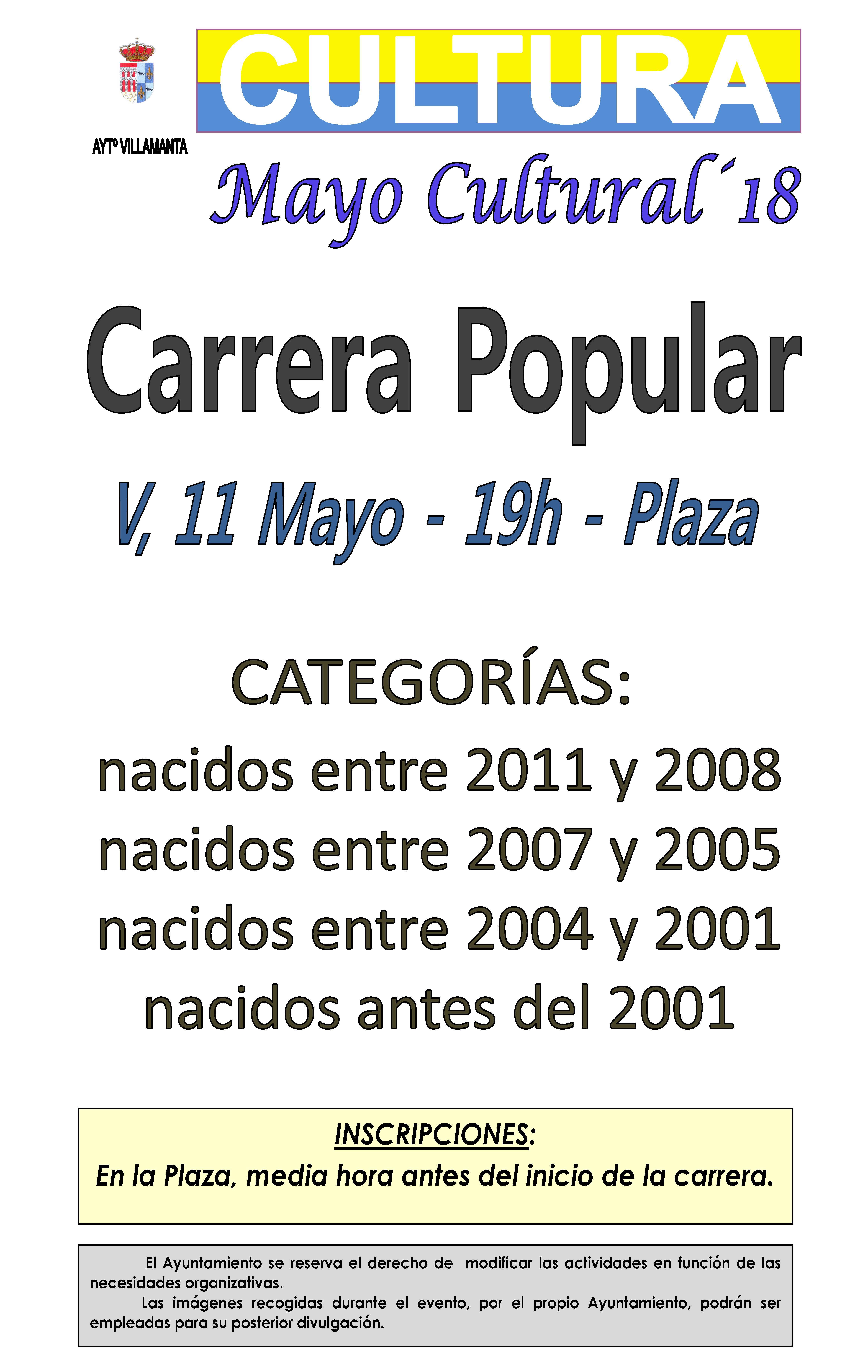 Carrera popular 11 de mayo a las 19:00