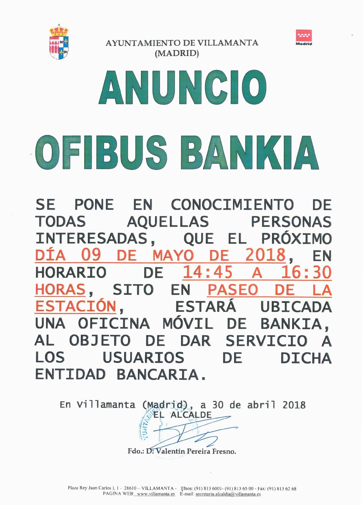 Ofibus Bankia 9 de mayo de 2018