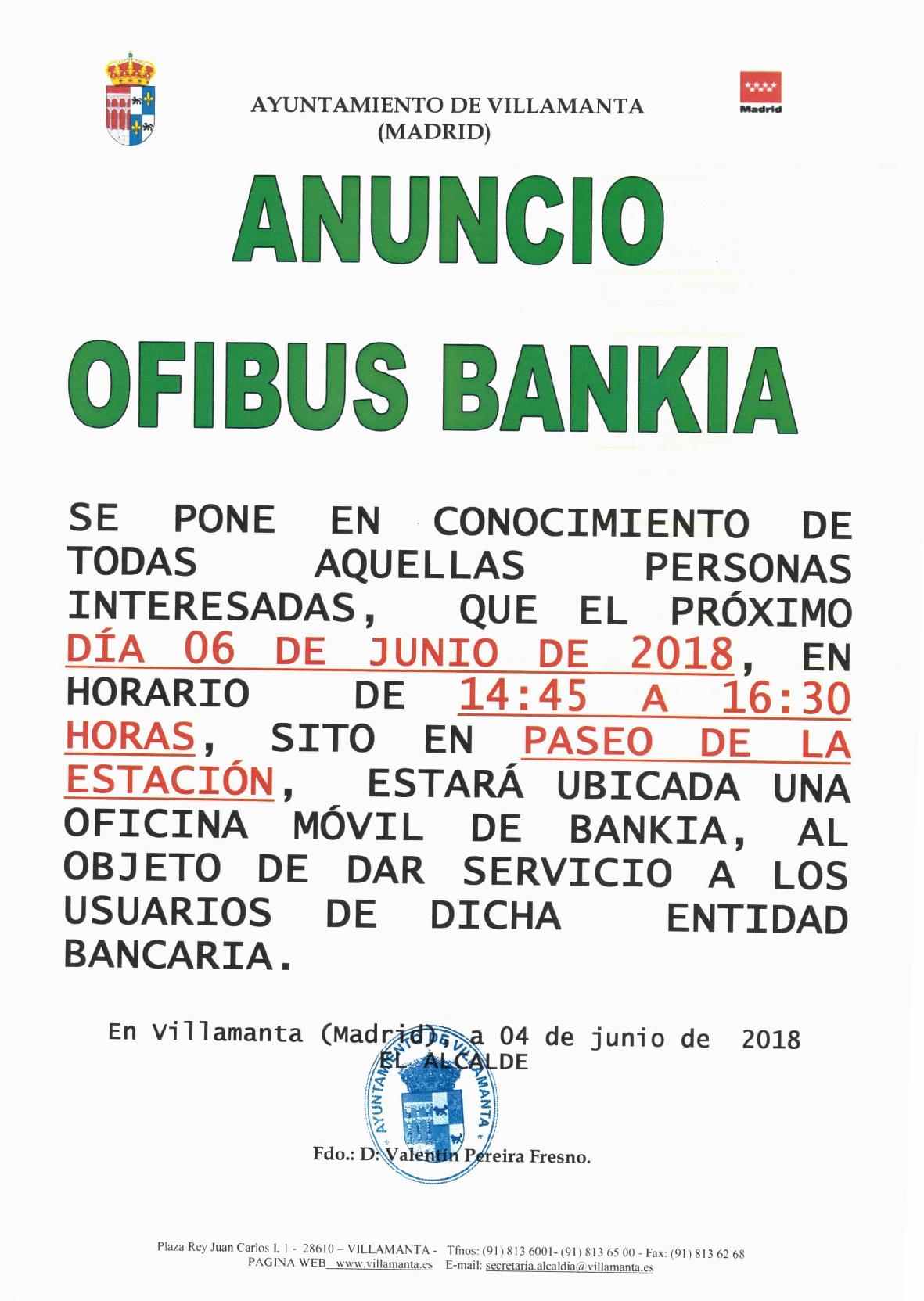 Ofibus Bankia 6 de junio de 2018