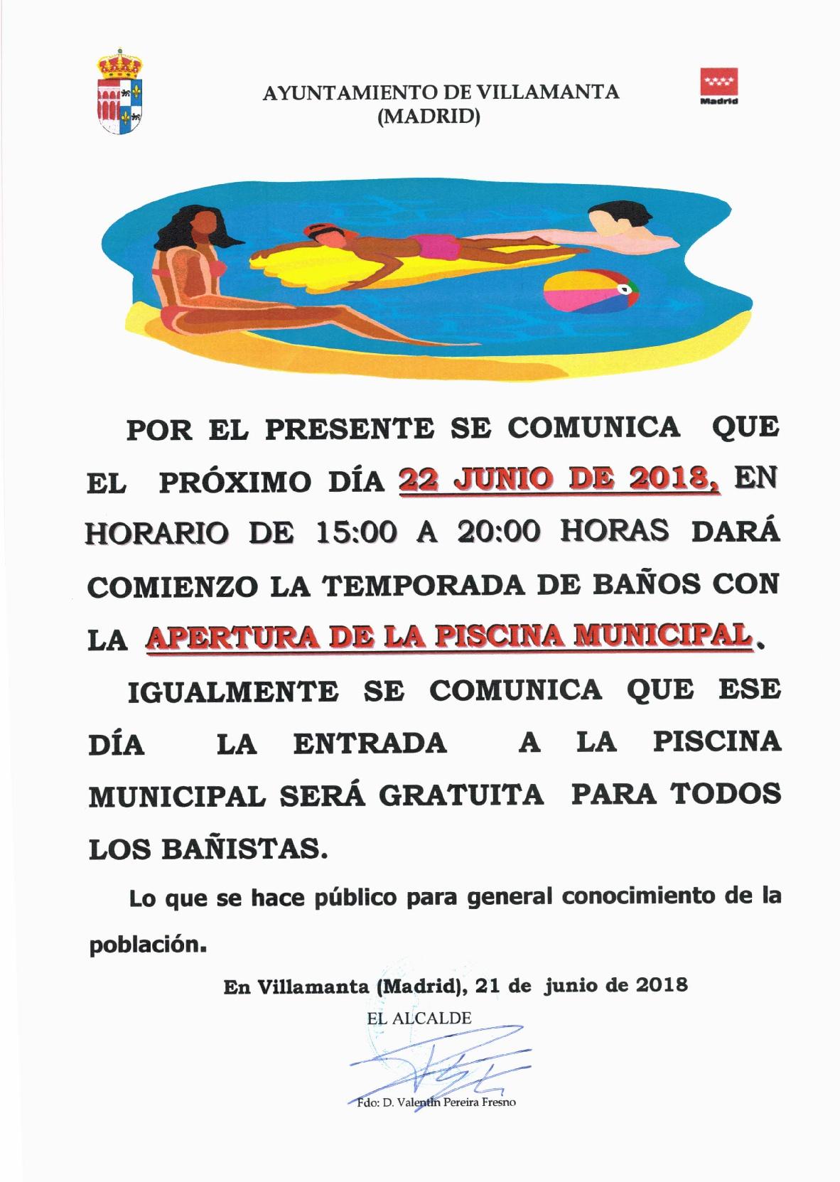 Apertura piscina 22 de junio de 2018