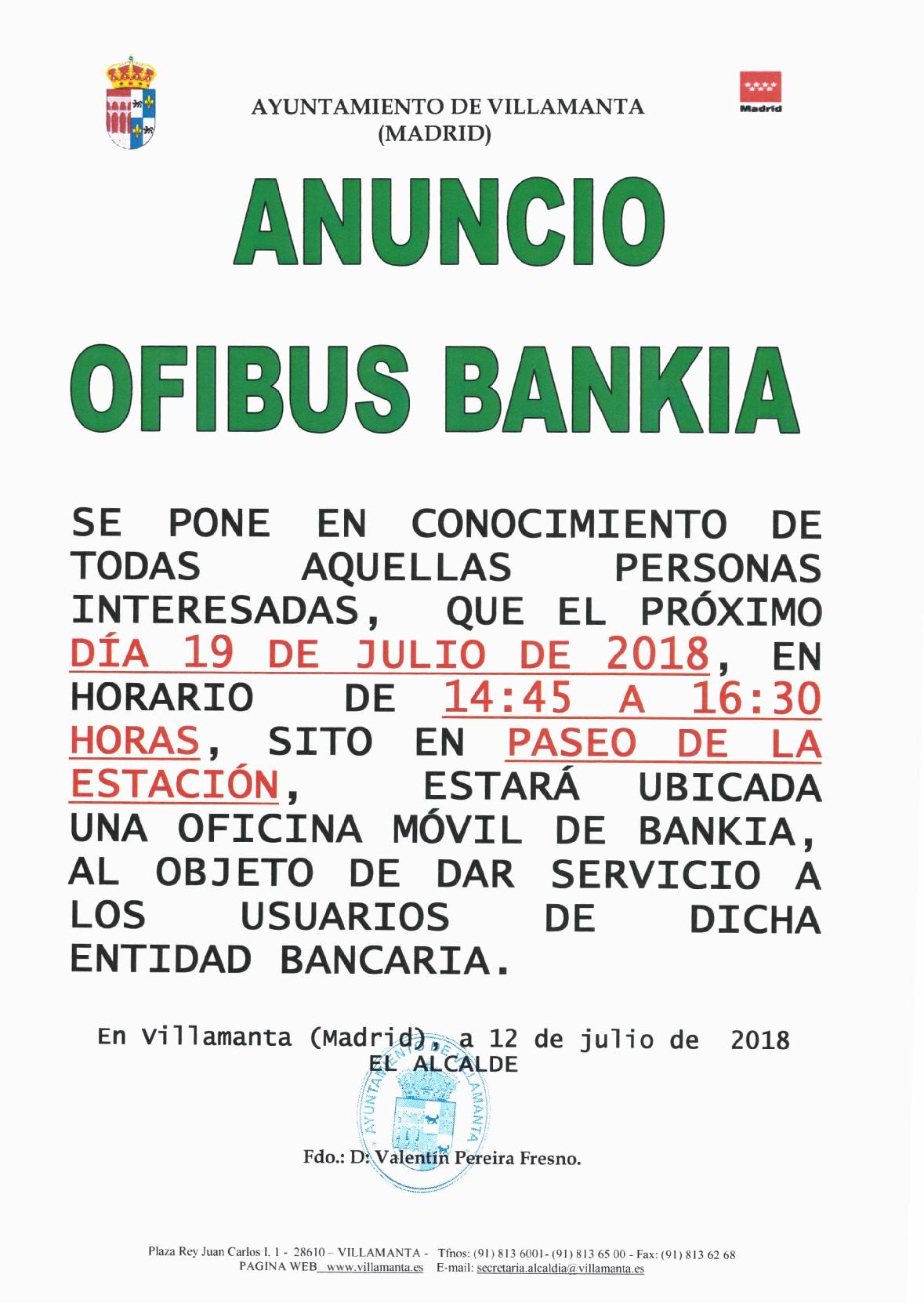 Ofibus Bankia 19 de Julio de 2018