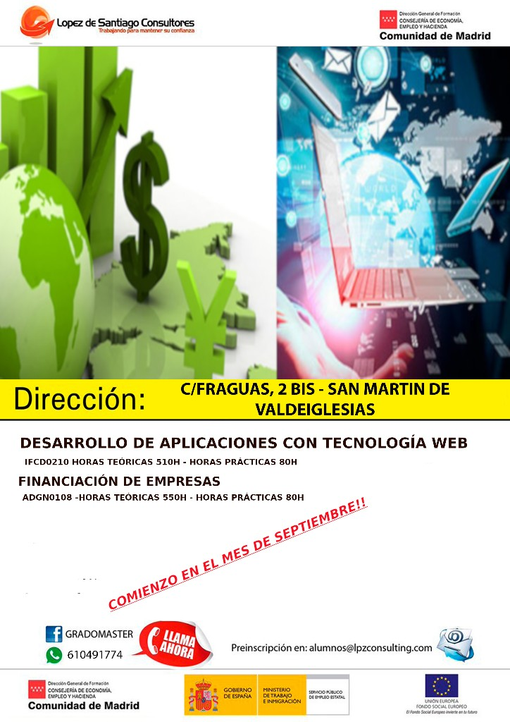 Curso de de desarrollo de aplicaciones con tecnología web y financiación de empresas