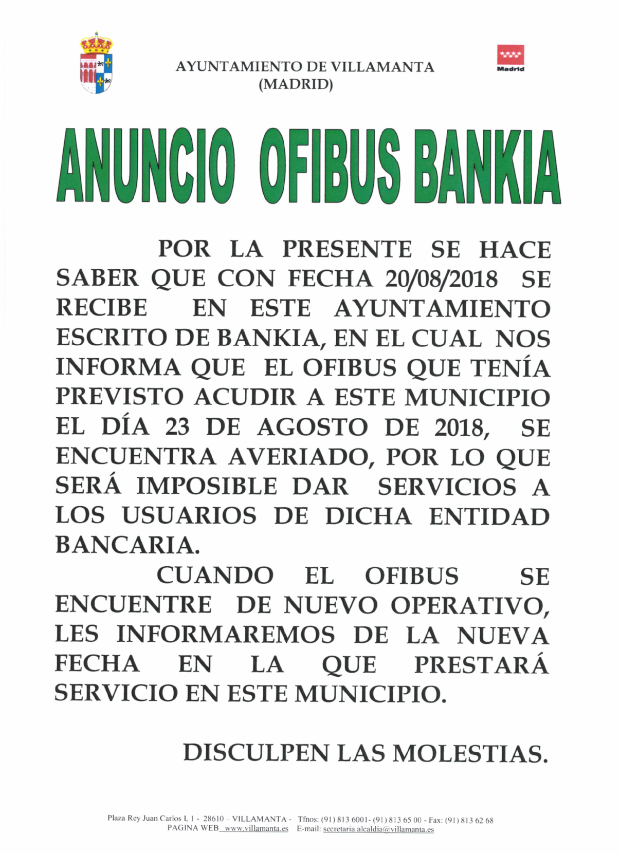 Avería en ofibus Bankia, no prestará servicio