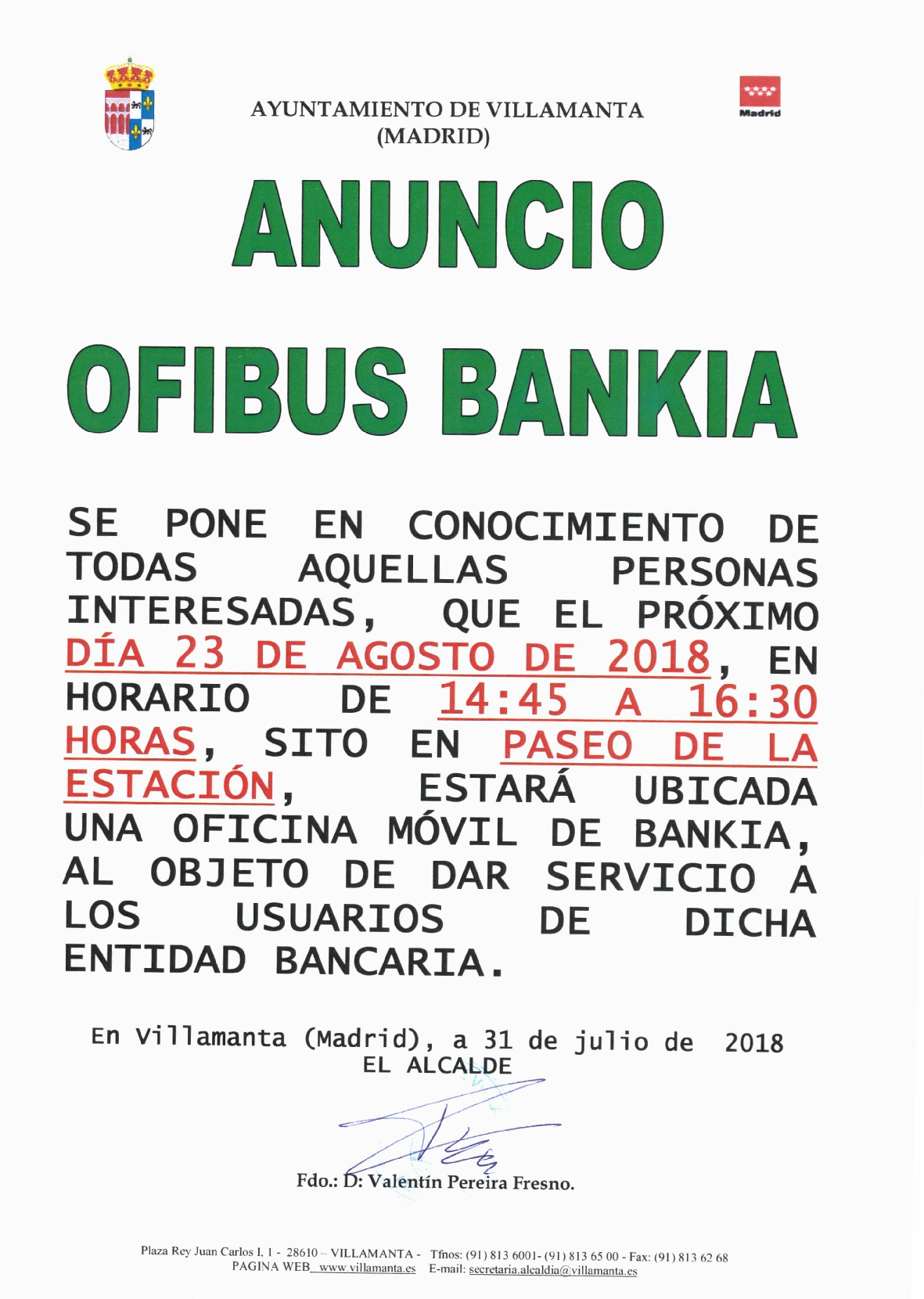 Ofibus Bankia 23 agosto 2018