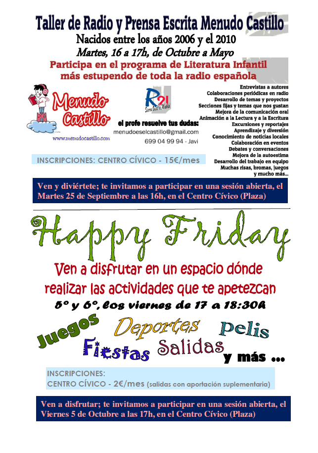 Cartel del Taller de radio y prensa escrita y Happy friday