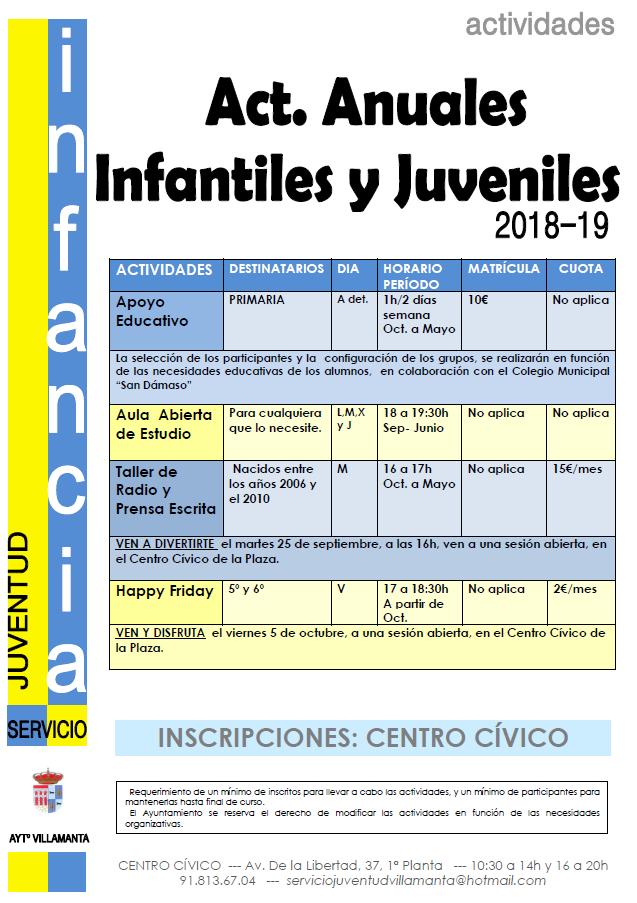 Programa de actividades infantiles y juveniles 2018-2019