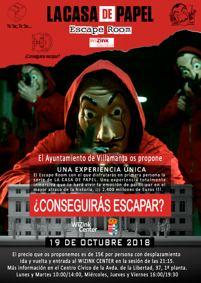Cartel del escape room la Casa de Papel