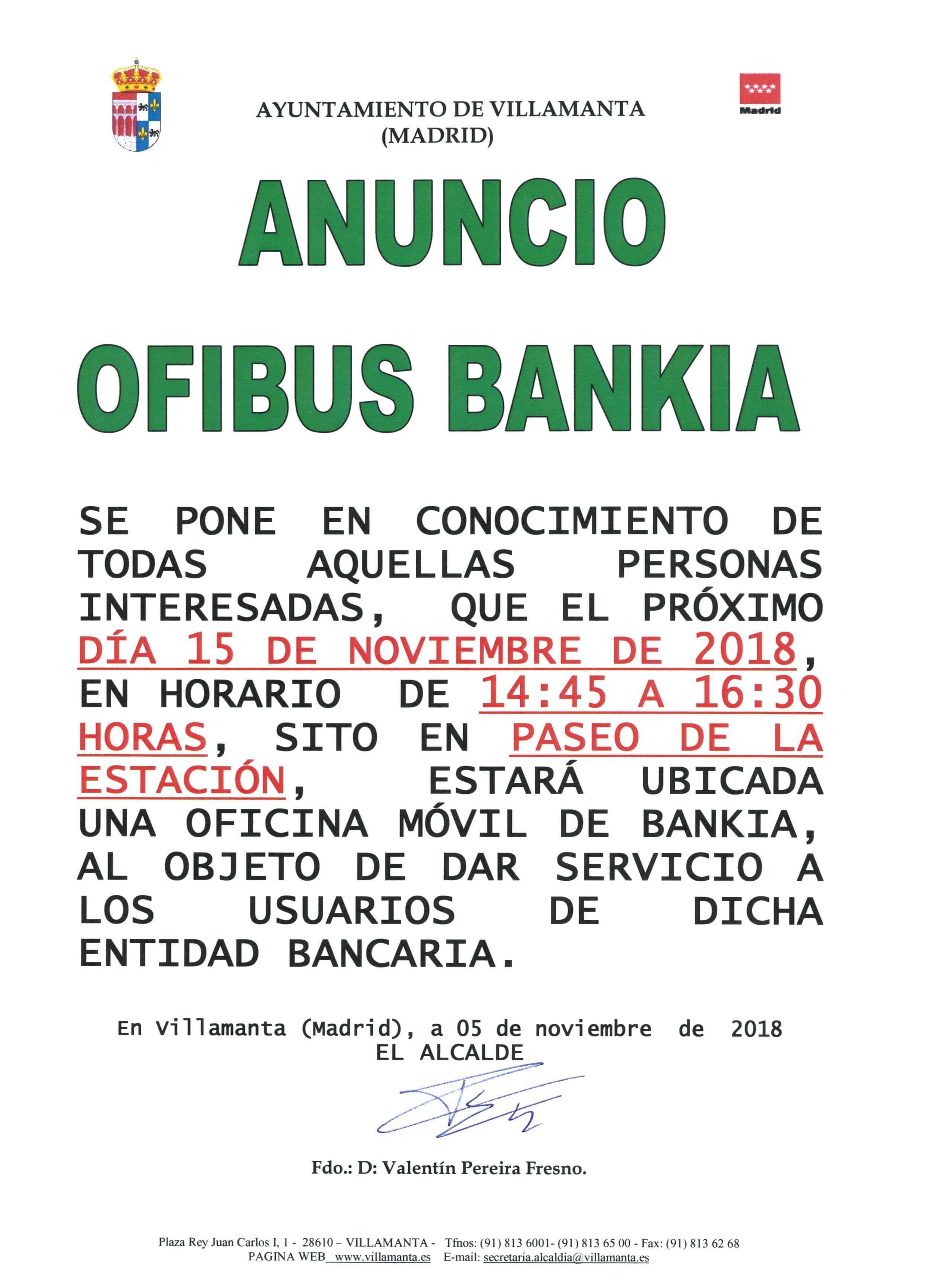 15 11 2018 oficina m vil de bankia ayuntamiento de villamanta - Bankia oficina movil ...