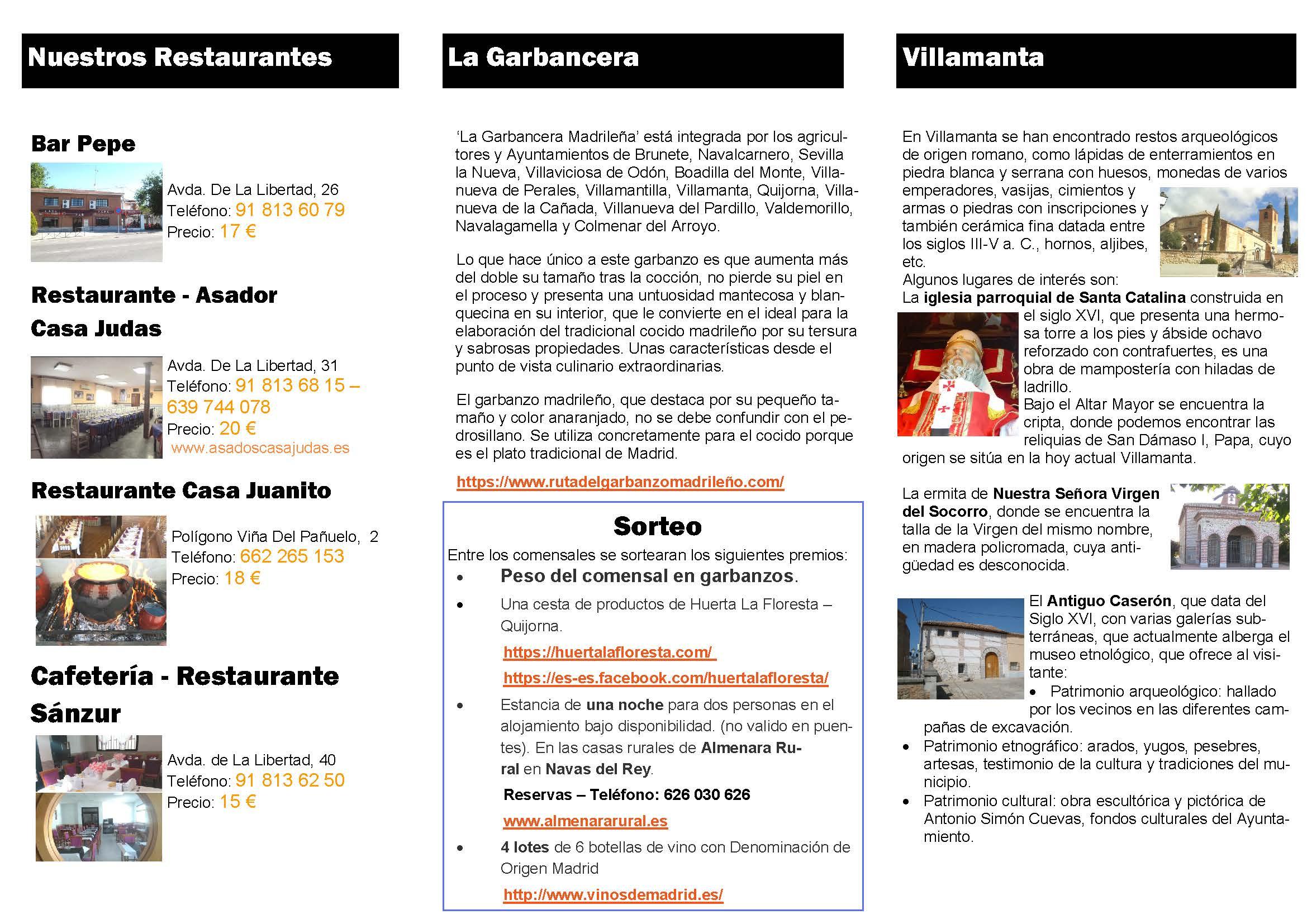 Folleto Informativo de la garbancera Madrileña - pag. 2
