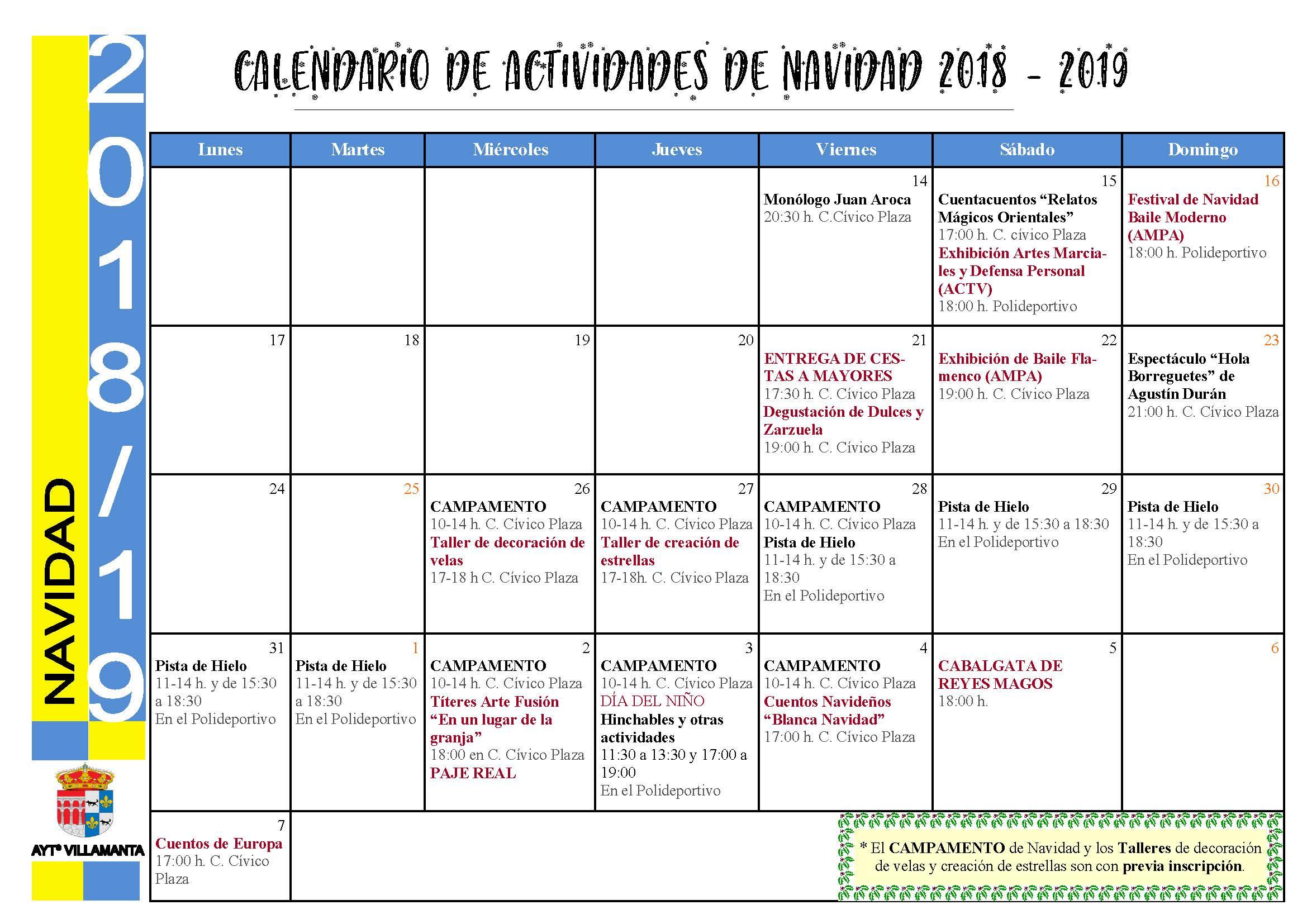 Calendario Actividades Navidad