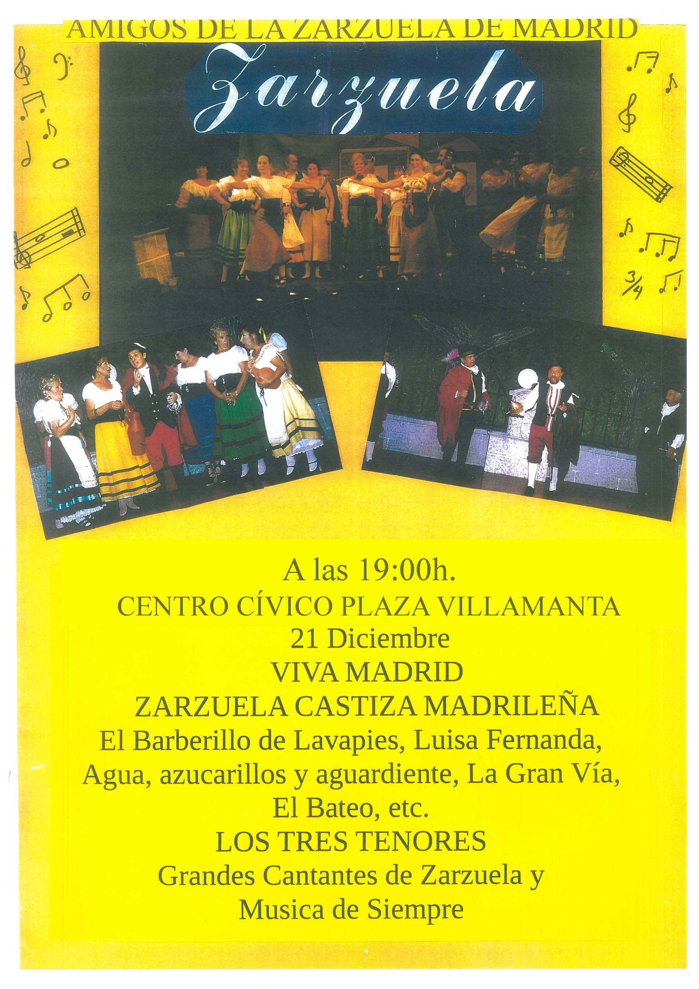 Zarzuela 21/12 a las 19:00