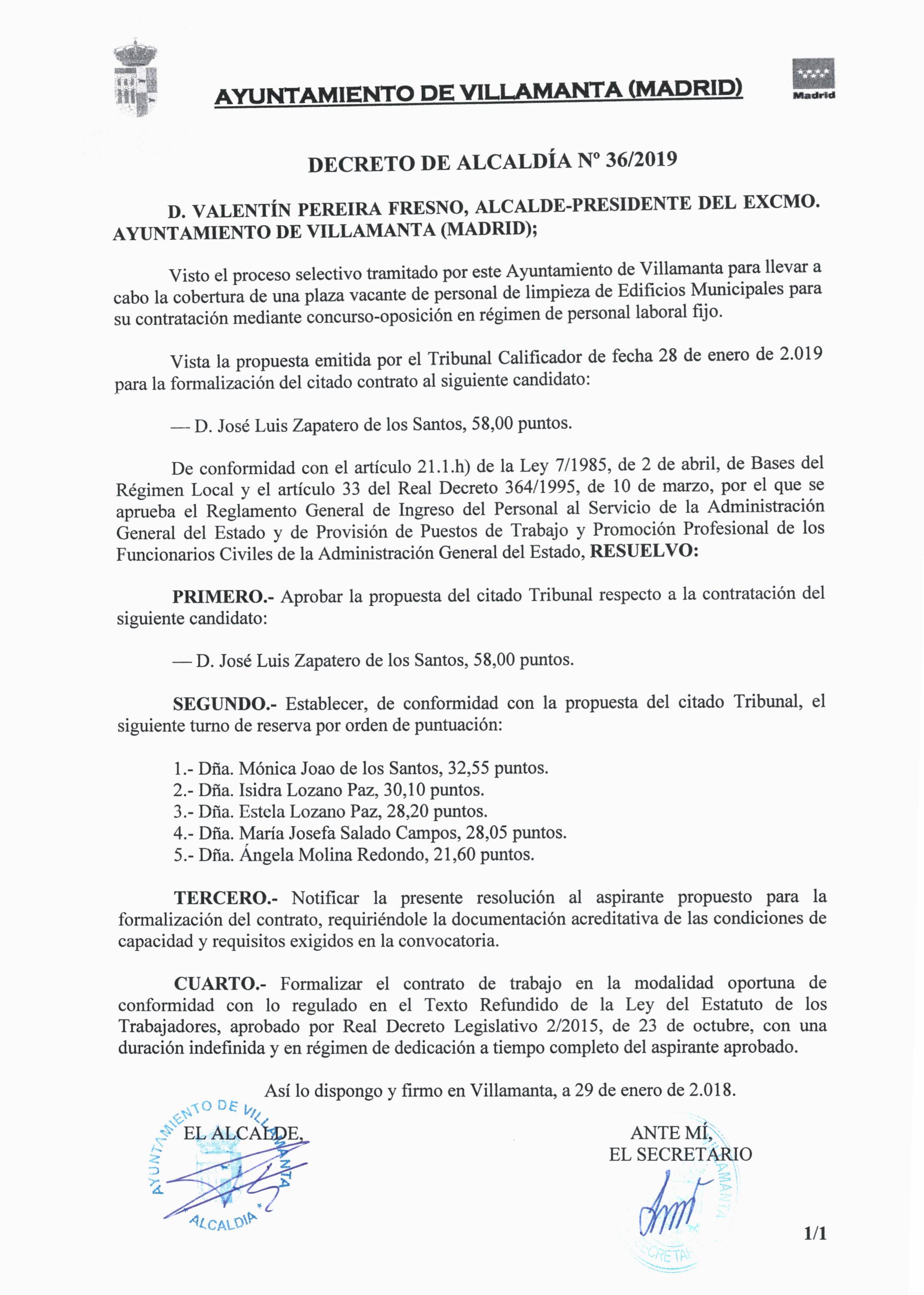 Decreto de Alcaldia 36-19