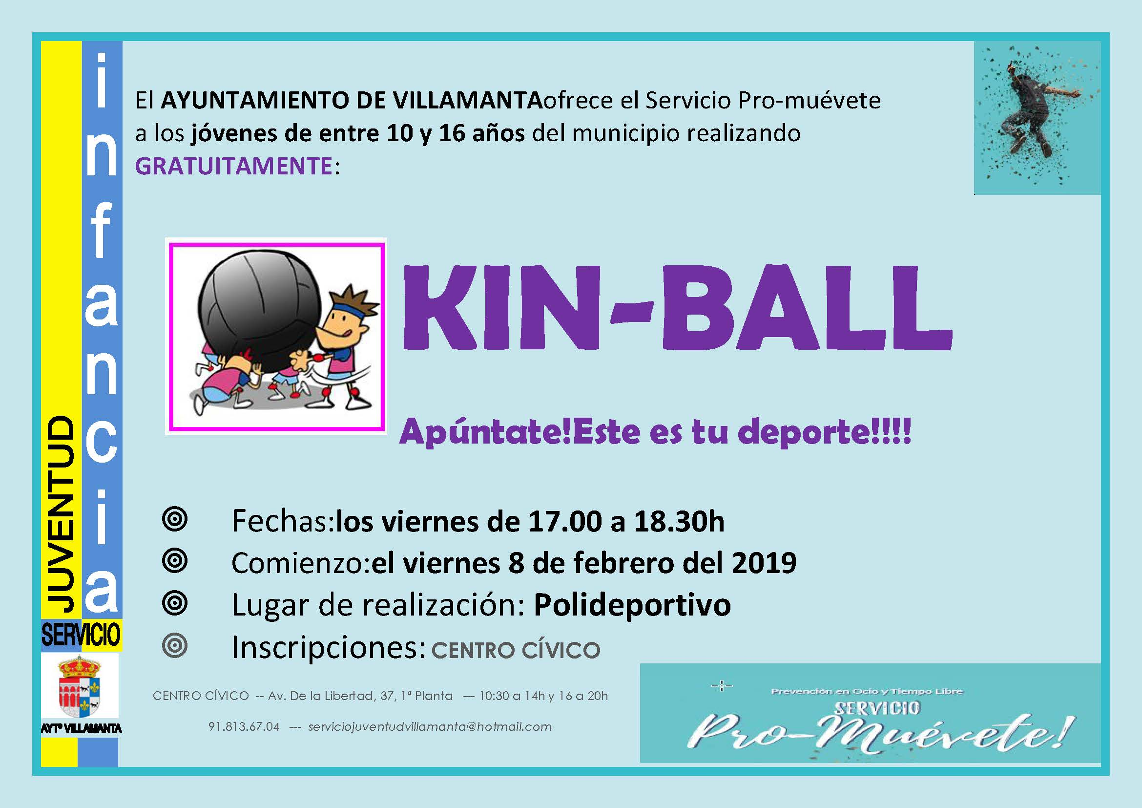 Cartel inscripicones KinBall