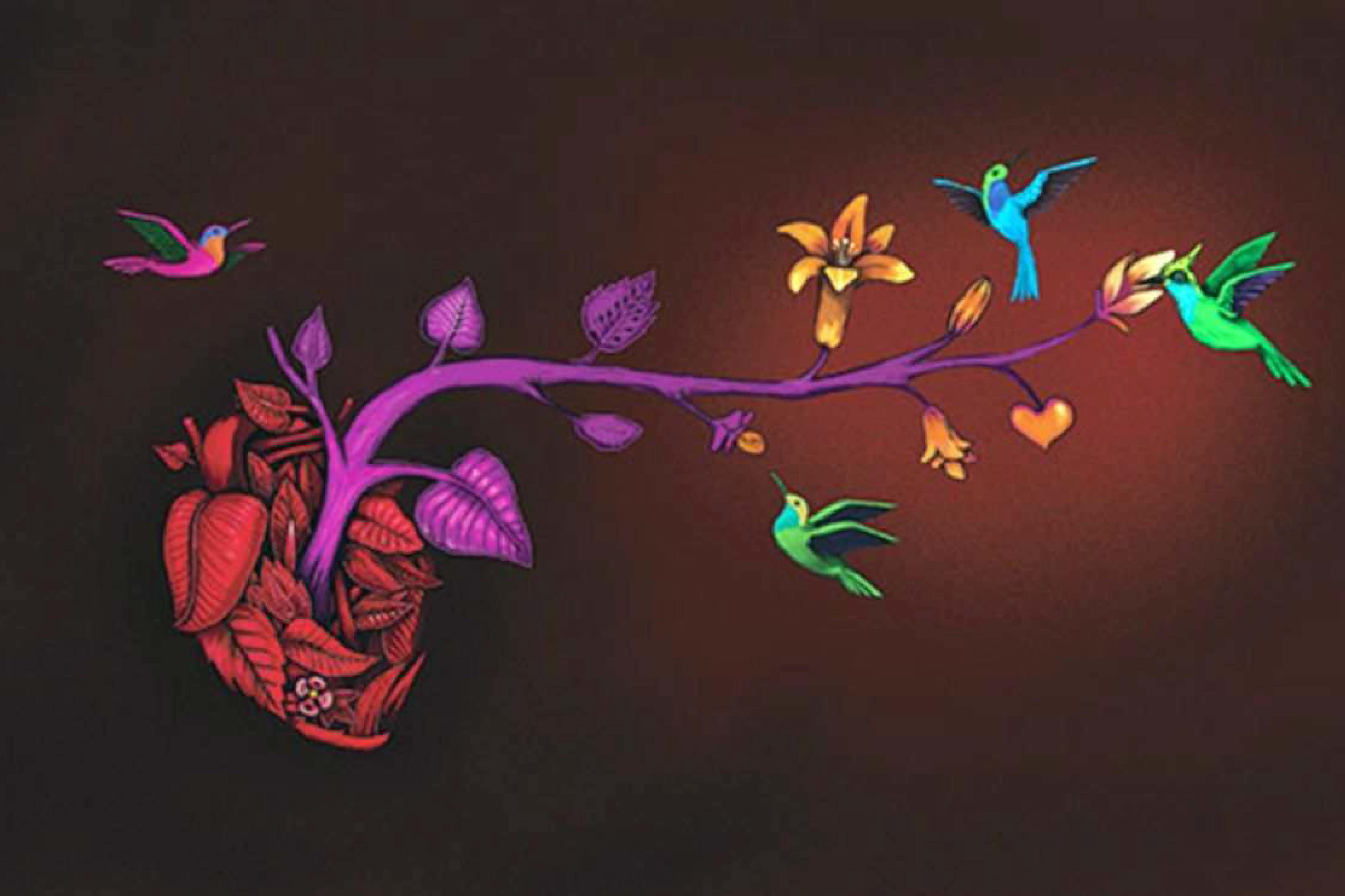 imagen de un corazón del que salen ramas floridas