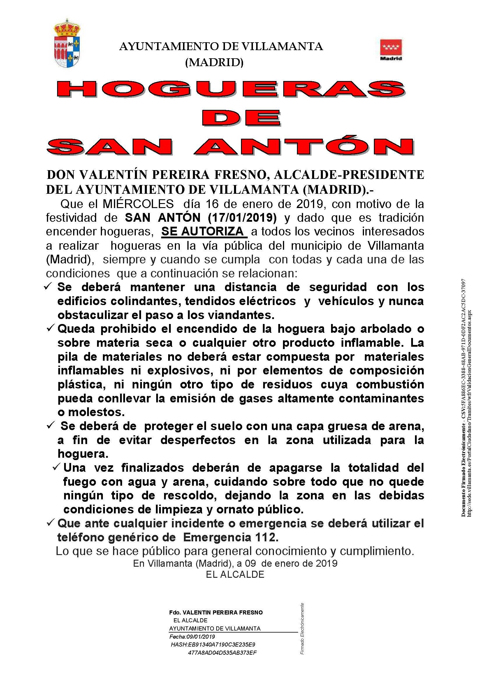 Bando Hogueras de San Antón